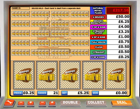 jackpot cafe deuces wild video poker online casino game