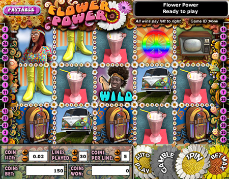 jackpot cafe flower power 5 reel online slots game