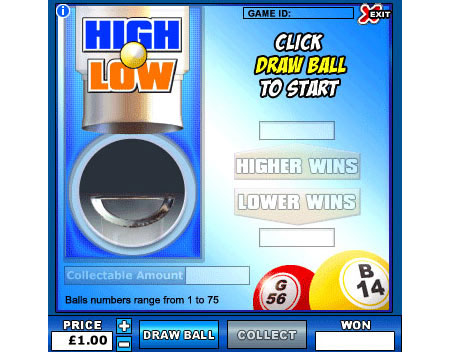 jackpot cafe high low online instant win game