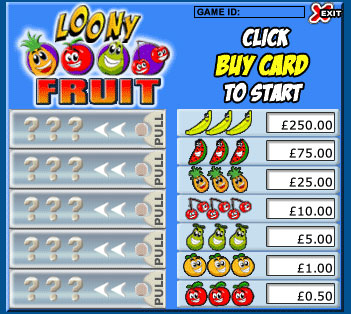 jackpot cafe loony fruits pull tabs online instant win game