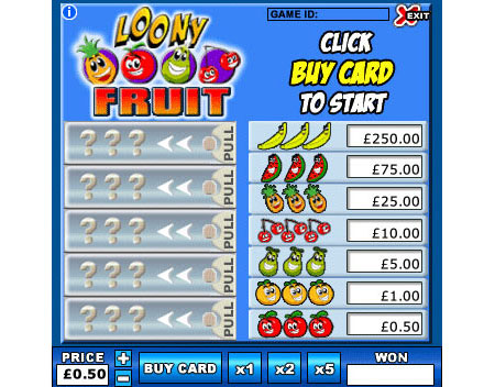 jackpot cafe loony fruit online instant win game