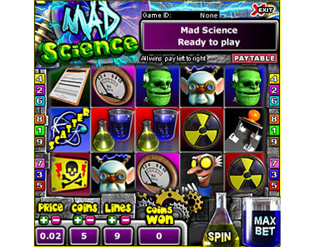 jackpot cafe mad scientist 5 reel online slots game