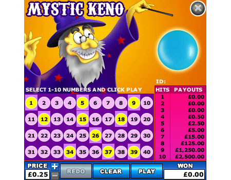 jackpot cafe mystic keno online instant win game