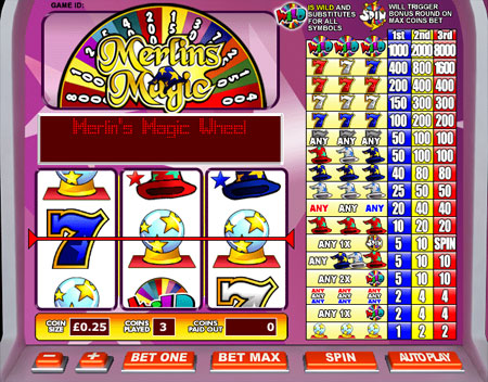 jackpot cafe merlins magic 3 reel online slots game