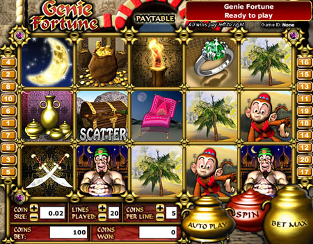 jackpot cafe genie fortune 5 reel online slots game