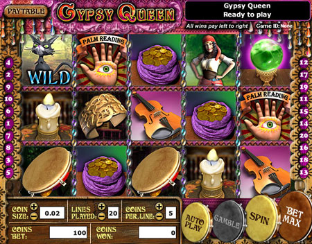 jackpot cafe gypsy queen 5 reel online slots game