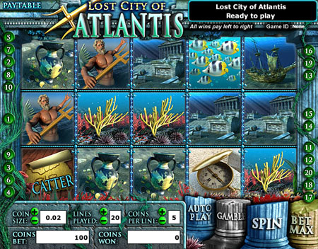 jackpot cafe lost city of atlantis 5 reel online slots game