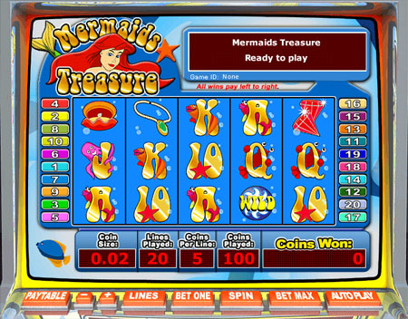 jackpot cafe mermaids treasure 5 reel online slots game