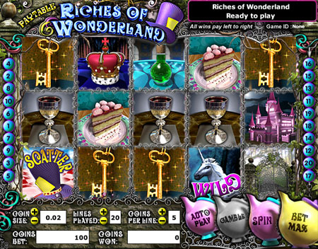 jackpot cafe riches of wonderland 5 reel online slots game