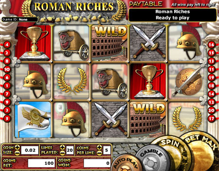 jackpot cafe roman riches 5 reel online slots game